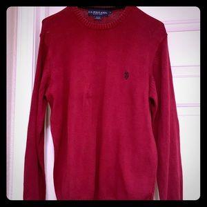 Medium Men Red-Polo-Assn. Crew-Neck-sweater